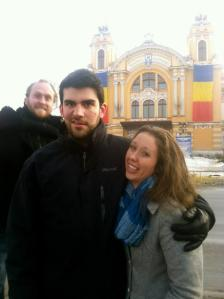 In Cluj, making faces and being photo-bombed