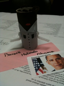Alexandra's finished Obama (there isn't more than one brown at the store where I buy colored paper...)