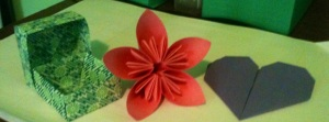 Origami box, flower, and heart
