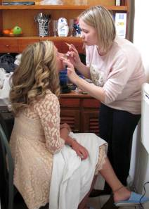 Hilde doing Erin's makeup
