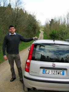 Nick and our rented Fiat Panda, Fiorello