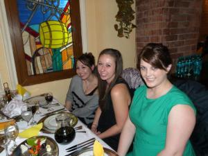 Lindsey, Megan, and me at the farewell dinner